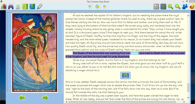 Open Lore book screen displaying synchronized text to speech with word highlighting