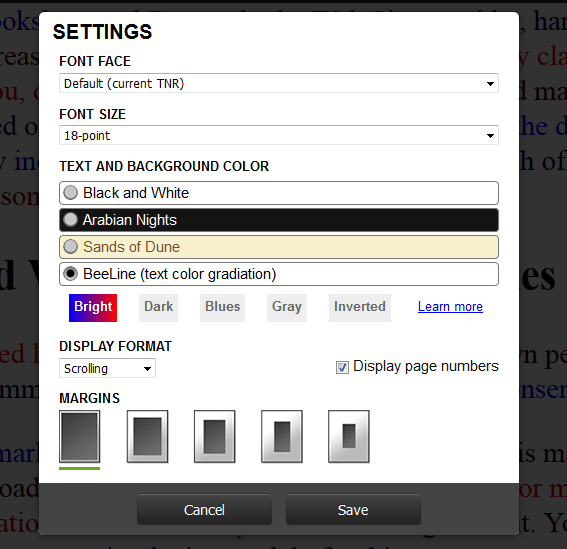 Web Reader settings window, that now includes BeeLine as a visual option and allows the user to select one of several color schemes