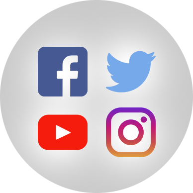 Facebook, Twitter, YouTube and Instagram logos.