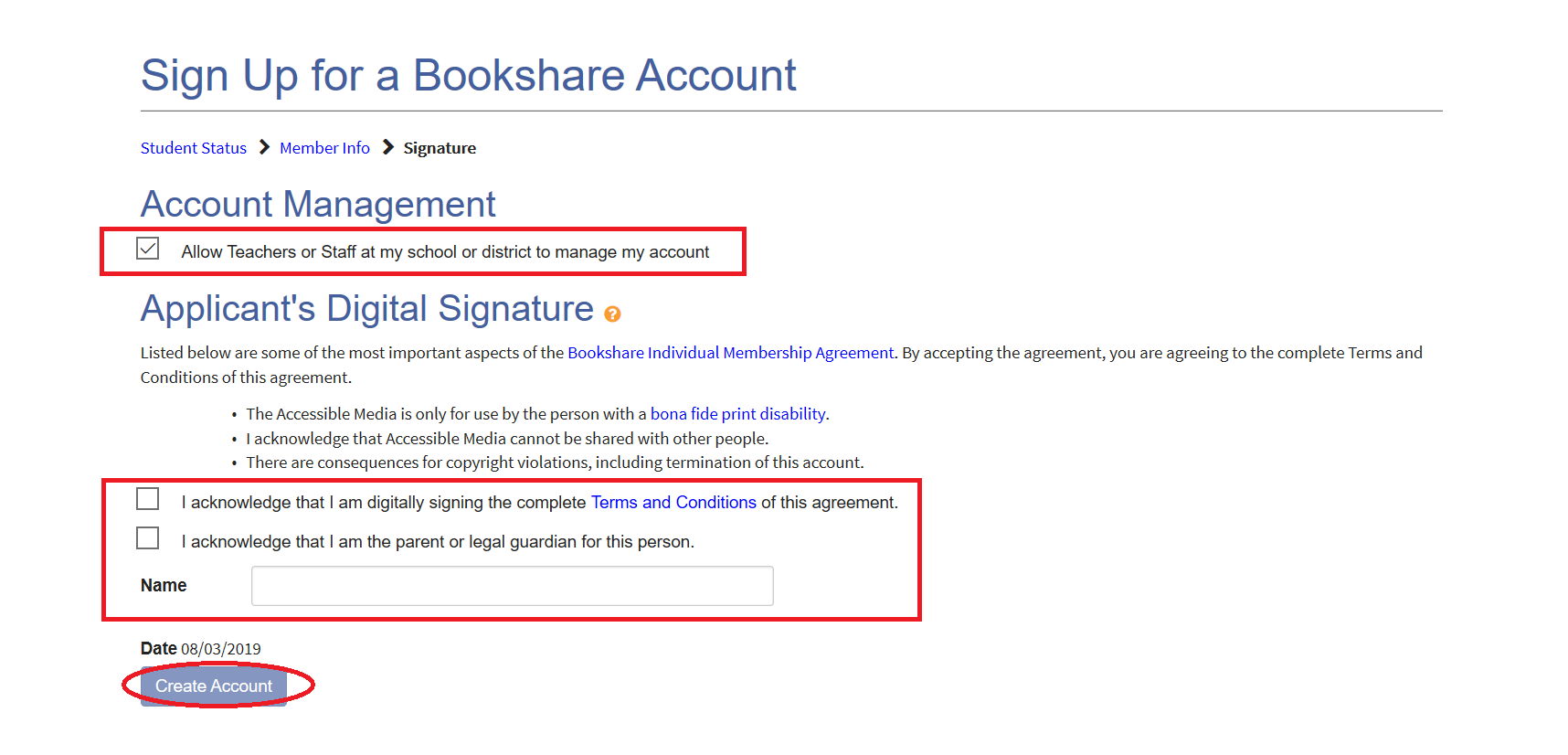Screenshot of Parents authorizing sponsor to manage account