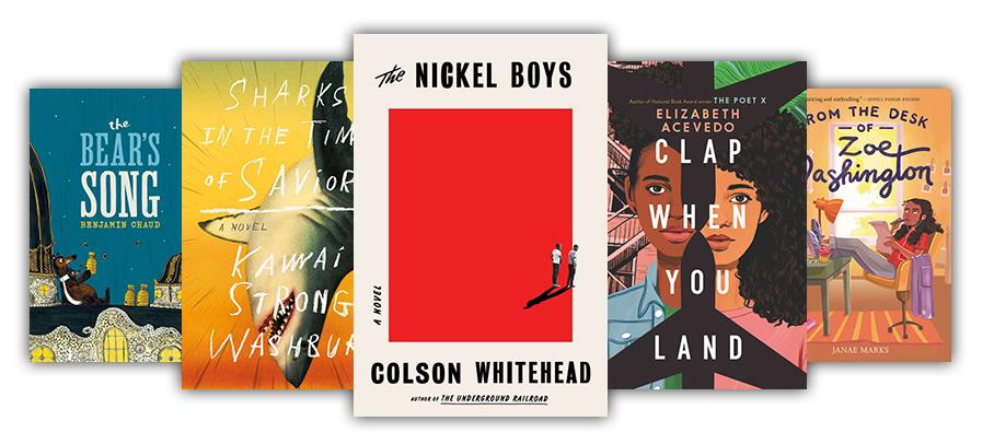Collage of book covers from summer reading lists like Nickle Boys, The Bear's Song, and more.