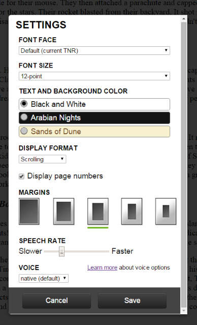 Screen shot of Settings page. Customization options include: Font Face, Font Size, Text and Background Color, Display Format, Margins, Speech Rate, Voice