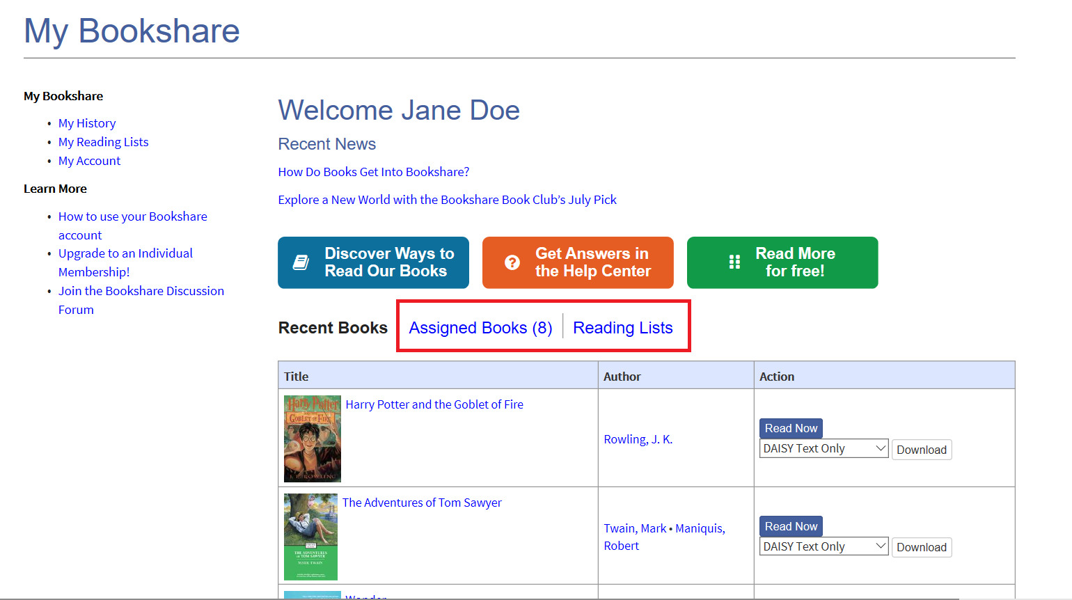 Screenshot of Student's My Bookshare Page with assigned books and reading lists link circled