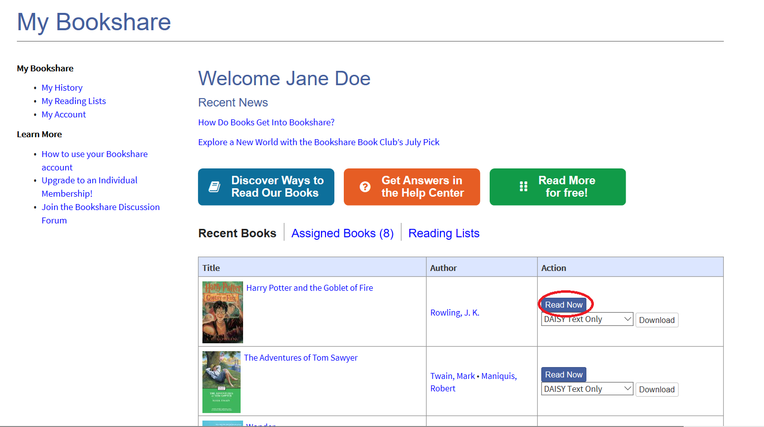 Screenshot of Student's My Bookshare Page with Read Now button circled