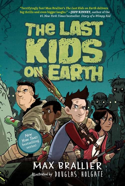 Collection sample book cover The Last Kids on Earth, four kids brandishing weapons with zombies surrounding them