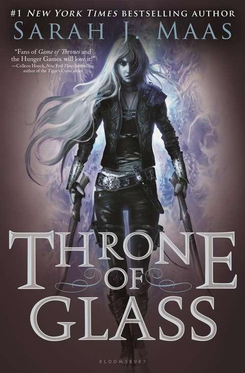 Collection sample book cover Throne of Glass, girl with long hair carrying two swords
