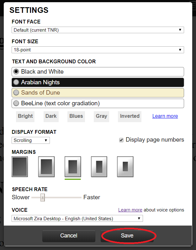 Screenshot of web reader settings
